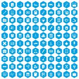 100 calculator icons set blue. 100 calculator icons set in blue hexagon isolated vector illustration Stock Illustration