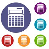 Calculator icons set. In flat circle reb, blue and green color for web Stock Photos