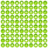 100 calculator icons set green circle. Isolated on white background vector illustration Royalty Free Stock Photography