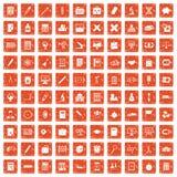 100 calculator icons set grunge orange. 100 calculator icons set in grunge style orange color isolated on white background vector illustration Stock Images