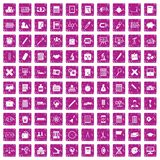 100 calculator icons set grunge pink. 100 calculator icons set in grunge style pink color isolated on white background vector illustration Stock Images