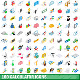 100 calculator icons set, isometric 3d style Royalty Free Stock Photo
