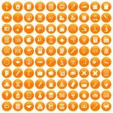 100 calculator icons set orange. 100 calculator icons set in orange circle isolated on white vector illustration Royalty Free Stock Photo