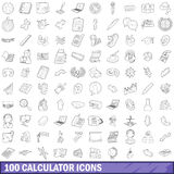 100 calculator icons set, outline style Royalty Free Stock Photography