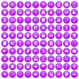 100 calculator icons set purple. 100 calculator icons set in purple circle isolated on white vector illustration Stock Photos