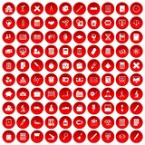 100 calculator icons set red. 100 calculator icons set in red circle isolated on white vector illustration Stock Photos