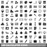 100 calculator icons set, simple style. 100 calculator icons set in simple style for any design vector illustration royalty free illustration