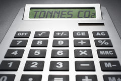 Calculator informing about carbon dioxide concentration stock image