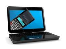 Calculator inside laptop. Isolated on white background. 3d illustration royalty free illustration