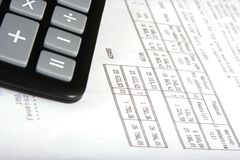 Calculator with invoice Royalty Free Stock Image