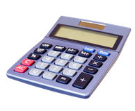 Calculator isolated white background. Closeup of a calculator with clipping path against a white background Stock Images