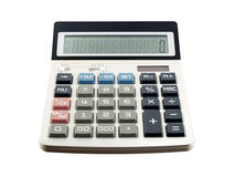 Close up white digital calculator with blue tax calculate button and zero number on screen isolated on white background. Office equipment for calculating the stock photo