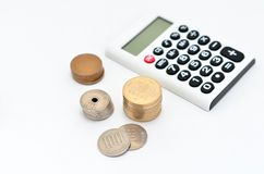 Calculator and japanese coin Royalty Free Stock Photos