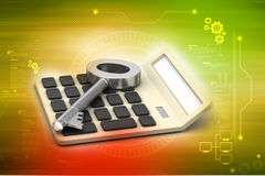Calculator with key Stock Image