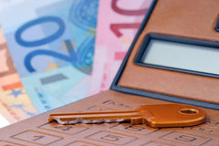 Calculator key and euromoney note Stock Photos