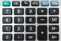 Calculator keyboard. Closeup of an electronic calculator keyboard royalty free stock image