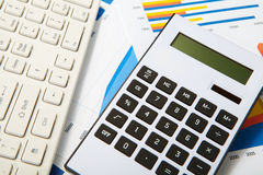 Calculator and keyboard Royalty Free Stock Photography
