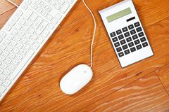 Calculator and keyboard Royalty Free Stock Photo