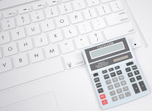 Calculator on the keyboard Stock Images