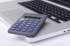 Calculator on the laptop Royalty Free Stock Photo