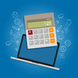 Calculator laptop note book online accounting analysis counting cost expenses money management icon. Vector Stock Photos