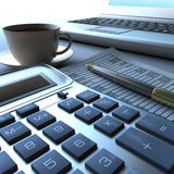 Calculator, laptop and pen with financial document Royalty Free Stock Images