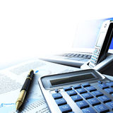 Calculator, laptop and pen with financial document. S in blue colors Royalty Free Stock Photography