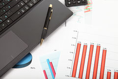 Calculator, laptop,tablet and financial documents Stock Image