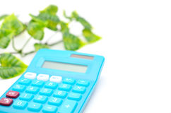 Calculator and leaf stock photography