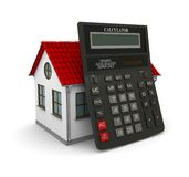 Calculator leaned on a little house with red roof. 3d rendering royalty free illustration