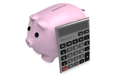 Calculator leaning on piggy bank. 3D Calculator leaning on a pink piggy bank Stock Photos