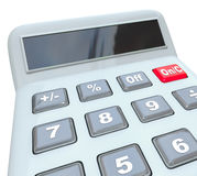 Calculator Learn Math Problem Add Subtract Multiply Numbers Blan. Calculator with blank copy space for your message on a digital display for learning how to add Stock Photography