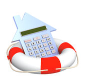 Calculator and lifebuoy Stock Photo