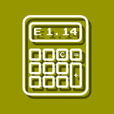 Calculator. Linear icon of calculator for use in logo or web design. Often used for back to school design, stationery stores. Modern vector illustration for web Stock Photography
