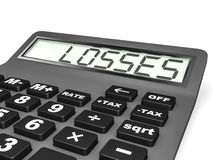 Calculator with LOSSES on display. Royalty Free Stock Images