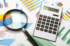 Calculator and magnifier Royalty Free Stock Photo