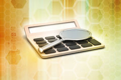 Calculator with magnifier Royalty Free Stock Images