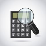 Calculator and magnifying glass Stock Photo