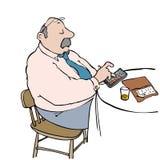 Calculator man. Man at restaurant table calculating menu bill Royalty Free Stock Image