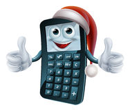 Calculator math christmas character Stock Image
