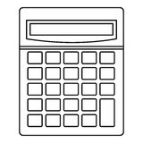 Calculator math device icon, outline style Stock Photos