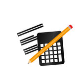Calculator math with pencil isolated icon Royalty Free Stock Image