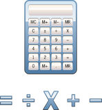 Calculator math symbols. Vector calculator and math icons blue plastic texture Stock Image
