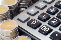 Calculator for mathematical calculations and accounting close-up.  Stock Photography