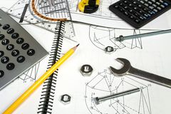 Calculator and measuring equipment Stock Images
