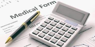 Calculator on a medical form. 3d illustration. Calculator on a medical form. Healthcare cost concept. 3d illustration Stock Images