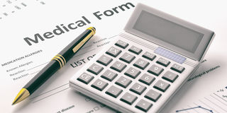 Calculator on a medical form. 3d illustration Stock Images