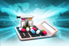 Calculator with medicines Royalty Free Stock Image
