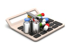 Calculator with medicines Stock Image