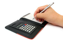 Calculator Memo Pad Stock Photos